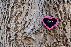 Różowy serce dla miłości na barkentynie Obraz Stock
