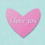 Różowy serce na tło wzorze Obrazy Stock