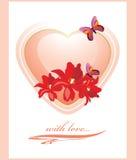 Różowy serce z kwiatami i motylami grępluje mój portfolio valentines powitanie Zdjęcia Stock