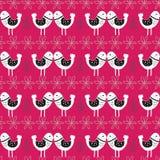 Różowy Skandynawski miłość ptaków wzoru projekt royalty ilustracja