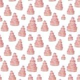 Różowy smakowity cukieru torta wzoru tło śliczne babeczki w pastelowych kolorów akwareli klamerki sztuce, urodziny, zaprasza pude ilustracji