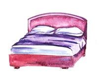 Różowy sypialnia meble Łóżko Pociągany ręcznie akwareli ilustracja pojedynczy białe tło ilustracja wektor