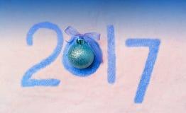 Różowy Szczęśliwy nowego roku 2017 tło Zdjęcie Stock