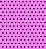 Różowy tło z Czarnymi polek kropkami Obraz Stock