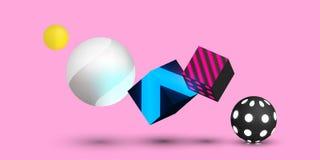 Różowy tło z kolorowymi 3d piłkami i sześcianami royalty ilustracja
