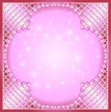 Różowy tło z perłami i siatkarstwem Zdjęcie Royalty Free