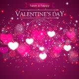 Różowy tło z sercami dla valentines dnia Fotografia Stock