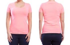 Różowy tshirt na młodej kobiecie zdjęcia royalty free