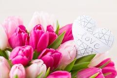 Różowy tulipan na białym tle tło barwiący Easter jajek eps8 formata czerwony tulipanu wektor Zdjęcie Stock