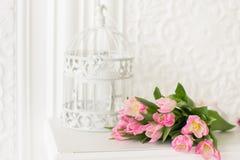 Różowy tulipanu bukiet, birdcage na białym tle i zielone hiacynty tło karty odchodzą lelujom dolinę wiosny kosmos kopii zdjęcie stock