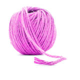 Różowy włókna skein, szwalna przędzy piłka odizolowywająca na białym tle Zdjęcia Royalty Free
