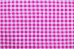 Różowy w kratkę tablecloth Fotografia Stock