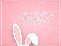 Różowy Wielkanocny tło z ornamentu i królika ucho Obraz Stock
