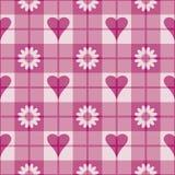 różowy wzór kwiaty serc Fotografia Royalty Free