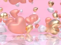 Różowy złocisty serca 3d rendering royalty ilustracja