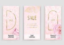 Różowy złocisty wektoru marmuru tło dla poślubiać, kosmetyk, 8 maszeruje, parfume robi zakupy royalty ilustracja