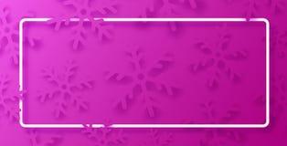 Różowy zima plakat z biel płatek śniegu i ramą zdjęcia stock