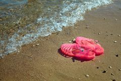 Różowych kobiet GALARETOWI sandały na dennym brzeg DAM galaret lata plaży PŁASCY buty zdjęcie royalty free