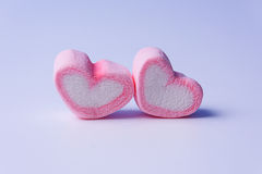 Różowych marshmallows kształta valentine kierowy pojęcie Fotografia Stock