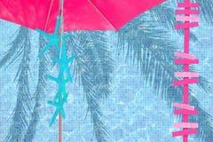 Różowych parasol strzała rozgwiazdy błękitny nastrój Obrazy Stock