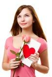 różana kwiat karciana target24_0_ kobieta Obrazy Royalty Free