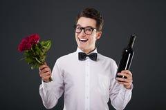 Róże i wino dla ciebie Obrazy Royalty Free
