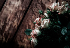 Róże na deskach zdjęcia royalty free