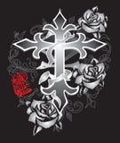 Róża krucyfiksu projekta moda Paisley ilustracji