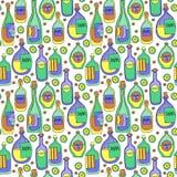 Różne kreskówek butelki wektor bezszwowy wzoru Fotografia Royalty Free