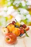 Różne owoc na talerzu na zamazanym tle Obraz Royalty Free
