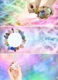 3 różnego krystalicznych gojenia sztandaru Obrazy Stock