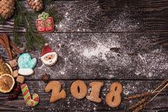 Różni imbirowi ciastka 2017 rok Fotografia Royalty Free