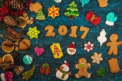 Różni imbirowi ciastka 2017 rok Zdjęcie Royalty Free