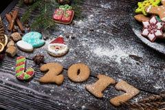 Różni imbirowi ciastka 2017 rok Obraz Stock