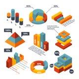 Różni isometric elementy dla biznesowy infographic Graficzni diagramy, 3d mapy Zdjęcia Royalty Free