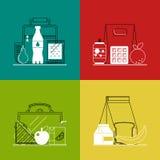 Różni lunchboxes na kolorowym tle Obraz Stock