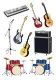 Różni muzyczni instrumenty pod bielem Obrazy Royalty Free