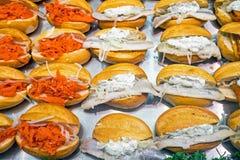 Różni owoców morza hamburgery Obraz Royalty Free