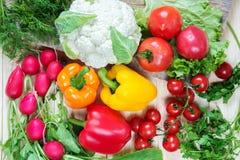 Różni warzywa jako pomidory, kalafior, pieprze, rzodkiew Zdjęcie Royalty Free