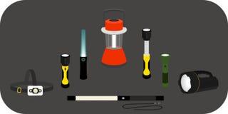 różnorodna latarka - headlamp, handlamp, tablelamp Zdjęcia Stock