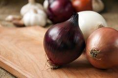 Różnorodne cebule na desce grabije na tle, burlap Obrazy Stock