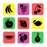 Różnorodne owoc na koloru tle Zdjęcia Stock