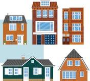 Różnorodni odosobneni domy miejscy Mieszkanie styl Obraz Stock