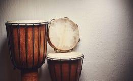 Różnorodni perkusja instrumenty Zdjęcie Stock