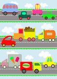Różnorodni pojazdy i zabawkarscy samochody na drodze dla chil Zdjęcia Royalty Free