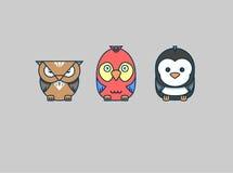 Różnorodni ptaki: sowa, papuga, pingwin Obrazy Stock