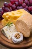 Różnorodni typ ser i winogrono Zdjęcie Royalty Free