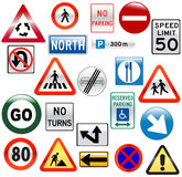 różnorodny glansowany drogowy znak Zdjęcie Royalty Free