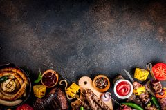 Różnorodny grilla grilla jedzenie obraz stock