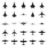 Różny monochromatyczny samolot ikony set Obrazy Stock
